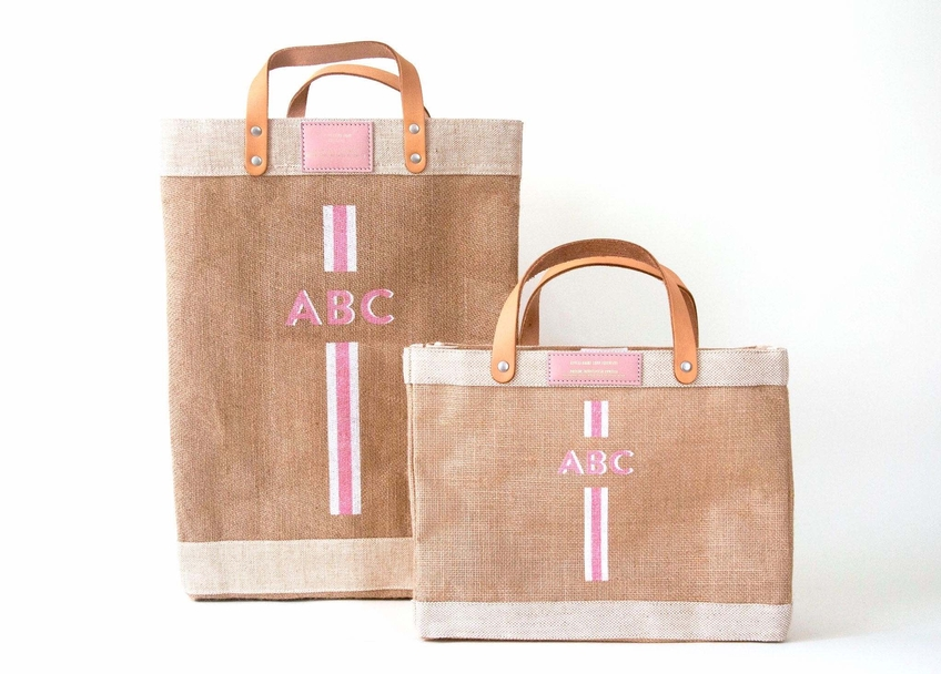 Striped Monogram Bag in Pink with Gold Foil